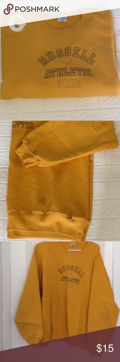"""Gently used sweatshirt, mustard color Long sleeve, Russell athletic XL,25"""" armpit to armpit, very good condition. russell athletic Other"""