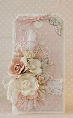 Shabby Chic Decor fun and awesome detail - Super styling. shabby chic inspiration board nice and canny example ref pinned on this day 20190213 , Shabby Chic Karten, Shabby Chic Cards, Vintage Tags, Card Tags, Gift Tags, Flower Cards, Paper Flowers, Etiquette Vintage, Handmade Tags
