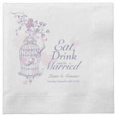 Wedding birds eat drink be married purple paper napkins. Art and design by www.sarahtrett.com