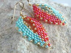 Earrings in Tangerine Aqua and Gold Seed Beads by SierraBeader, $32.00