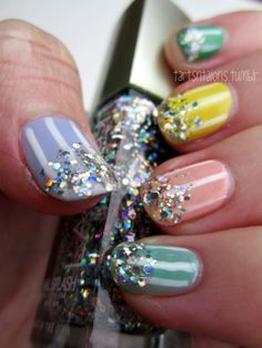 11.26.12 Inspired by these WAH nails! I love the pastel stripes and glitter! Essie Turquoise & Caicos, A Crewed Interest, Mojito Madness, Lilacism Sally Hansen Mellow Yellow Kiss Nail Art White LA Splash Baby Octopus