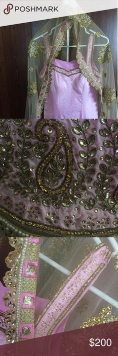 Indian light pink pajami suit bollywood heavy dupatta absolutely beautiful pictures do not do it justice you need this in your closet to look stunning at any event worn only once or twice at the most Other