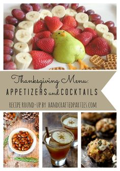 Thanskgiving recipe round-up: cocktails and appetizers for kids and adults  {Handcrafted Parties}