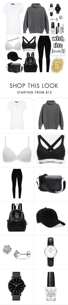 """Wish List: January'18."" by naaysworld ❤ liked on Polyvore featuring Love Moschino, M&Co, Calvin Klein, rag & bone, Daniel Wellington, OPI and Bobbi Brown Cosmetics"