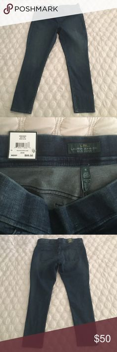 NWT lrl Ralph Lauren denim jean leggings size 16 New with tags. Lrl Ralph Lauren. Size 16. Blue denim Jean leggings. Features elastic at waist for a comfortable fit. Waist measurement flat is approximately 20 inches. Length is 29. Cotton polyester elastane blend provides stretch. Great pants can be worn year round 15% off 2+ items  Ralph Lauren Pants Leggings