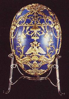 The 'Tsarevich' Faberge Egg, made in 1912 for Empress Alexandra Fyodorovna as a tribute to her son the Tsarevich Alexei.