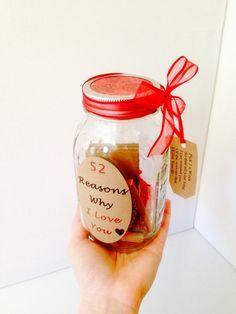 52 razones por que te amo regalo en un frasco por TheBumbleComb
