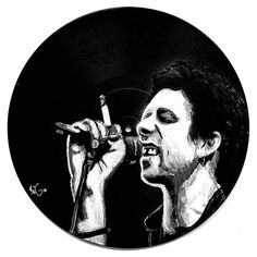 Portrait of the Irish singer Shane MacGowan singing into a microphone. In black and white, paint on an old Lp record. Irish Singers, Daisy, Black And White, Portrait, Painting, Art, Art Background, Daisies, Black White