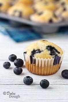 Blueberry-Cream-Muffins. No soda; 1 T baking powder. Added 1/2 tsp salt for 1 tsp total salt. 1 tsp vanilla.