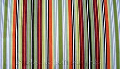 Green, lime, tangerine and burgundy striped curtain and blind fabric, with thinner black and white stripes