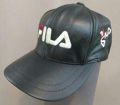 332c8396a87 Vtg Fila Leather Baseball Cap 80 s 90 s Good Condition 84 85 Ford T-bird  Black