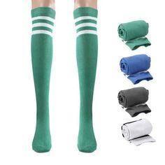 Women Girl Three Bar Boot Cuffs Warmer Cotton Leg Long Tube Sockings Stockings