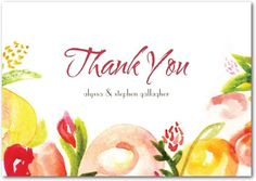 A bright botanical design compliments a tropical themed wedding. View floral thank you cards.