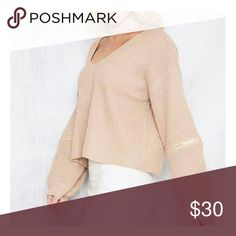 ☆Limited time ☆Cream V-neck autumn sweater A fashion forward sweater that comes cream with a choker. It has detail zippers on the elbow. This item will definitely have all eyes on you! It can be dressed up or down. Prefect for the fall season. I have 2 creams. You purchase you will only get 1. Sweaters V-Necks