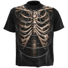 Black gothic mens t-shirt by Spiral, with skeleton ribcage print on front and back, looks like torn fabric fastened with chains.