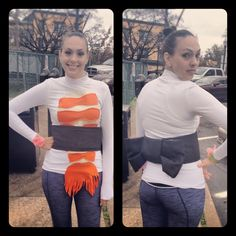 DIY Sushi Roll Costume!  Add some Chopsticks to your hair and voila!  I bought a green leather bracelet band from Hobby Lobby and used some coral ribbon to make the ginger and wasbi.  This costume was for a Halloween 5K, but it's versatile.  You could dress it up with skinny pants and boots.     LEH Design / LEHealy.com