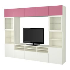 BESTÅ TV storage combination/glass doors, Lappviken pink, Sindvik white clear glass Lappviken pink/Sindvik white clear glass drawer runner, push-open 118 1/8x15 3/4x90 1/2