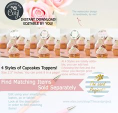 Watercolor Design, Cupcake Toppers, Place Card Holders, Baby Shower, Ads, Templates, Digital, Handmade Gifts, Babyshower