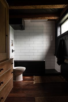 The House That Craigslist Built: A Bare-Bones Farmhouse in Midcoast Maine - Remodelista Man Bathroom, Bathroom Ideas, Budget Bathroom, Washroom, Bathroom Designs, Bathroom Furniture, Bathroom Renovation Cost, Black Bath, Wooden House