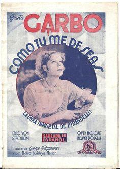 COMO TU ME DESEAS PROGRAMA DOBLE MGM GRETA GARBO ERIC VON STROHEIM - Foto 1