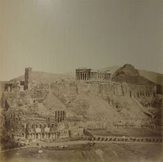 Dimitrios Konstantinou (Greek, active 1858-1860s), General view of the Athenian Acropolis and the South Slope from the southwest, c. 1860-65, albumen print, 11 x 14 1/16 inches. Collection of Middlebury College Museum of Art. Purchased with funds provided by the Fine Arts Acquisition Fund, 2013.019.59.