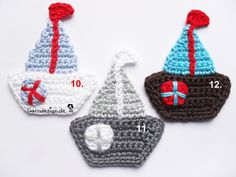 Crochet Sailboat one of twelve. Free color selection.  The price is for a sailing boat of your choice.  Easy to buy me (tell number) the color ...