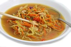 Remember the Cabbage Soup Diet? My Asian-style version is a dieter's delight! It's chock full of shredded cabbage, carrots and broccoli slaw. A delicious, satisfying way to get back on track! You g…