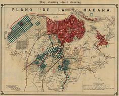Map showing street cleaning, Havana, Cuba, 1899