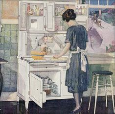 This beautiful ad for a Hoosier cabinet was published in Ladies Home Journal. Imagine working in one of the 1922 Bennett kit homes ... maybe the the Aberdeen would have been nice? See Antique Home & Style Kitchens for more design inspiration.