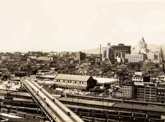 Old Georgia Viaduct, 1939 Also visible are the Beatty Street Drill Hall, the Vancouver Block, and the and Hotels Vancouver. Photo by Leonard Frank Vintage Pictures, Old Pictures, Paris Skyline, New York Skyline, Fraser Valley, Past Tense, Most Beautiful Cities, Local History, Historical Pictures