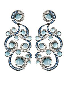 Gilan Grand Pheasants  Earrings White Gold with Sapphires and Topaz
