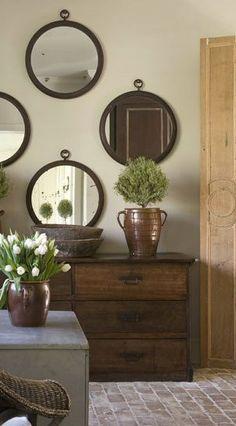 Inovative Ideas, Interior Inspiration, Design Inspiration, Round Mirrors, Circle Mirrors, Framed Mirrors, Vintage Mirrors, Mirror Mirror, Rustic Elegance