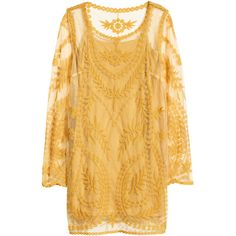 H&M Lace dress ($39) ❤ liked on Polyvore featuring dresses, h&m, lace, tops, mustard yellow, long sleeve lace dress, long sleeve mini cocktail dress, mustard yellow dress and short lace dress
