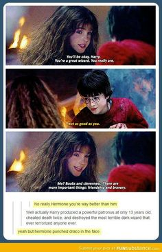 Yeah, Hermione punched Draco in the face. Harry didn't do that when Draco kicked him in the nose. Long story short Hermione is awesome! Images Harry Potter, Harry Potter Love, Harry Potter Fandom, Harry Potter Houses, Harry Potter Facts, Harry Y Hermione, Draco Malfoy, Draco And Hermione Fanfiction, Ginny Weasley
