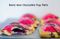 Weekend baking – Home made pop tarts with berries and chocolate.
