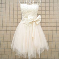 A-line Sweetheart Sleeveless Short/Mini Satin Tulle Fashion Prom Dresses/Wedding Dress/Cocktail Dress With Beading Bowknot Free Shipping. $99.00, via Etsy.
