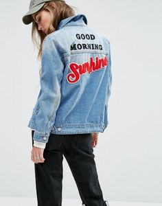 Pimkie Sunshine Logo Oversized Denim Jacket