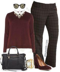 Plus Size Plaid Pants Outfits - Plus Size Work Outfit Ideas - Plus Size Fashion for Women - alexawebb.com #alexawebb #fall #work #outfit