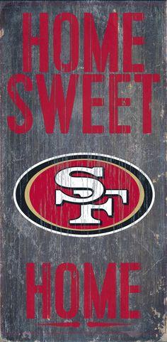 "San Francisco 49ers Wood Sign - Home Sweet Home 6""x12"""