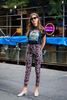 Street Style / Trending Fashion / Fashion Week / Edgy / Feminine / Winter Florals / Metallic shoes