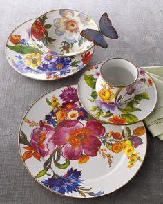 -2L0G MacKenzie-Childs Flower Market Dinner Plate Flower Market Charger Plate Flower Market Luncheon Plate