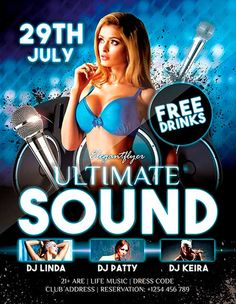 """Free Ultimate Sound Dj PSD Flyer Template - http://freepsdflyer.com/free-ultimate-sound-dj-psd-flyer-template/ Free Ultimate Sound Dj PSD Flyer Template - Our designers have created for you this amazing club flyer template free """"Guest DJ Joseph Henry"""" to use it in organization of your night club party, restaurant or home event or in any necessary palace for you! This invitation is absolutely Free and you can use it at any time you want! #Club, #Dance, #Deluxe, #Dj,"""