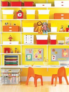 Kids Storage Tip #1: When it comes to organizing kids and good storage ideas, consider wall shelving that is adjustable can be switched up to meet your child's growing needs. For instance, a storage shelving unit like this one will meet your child's needs from toddler to teen. This playroom workstation can be easily rearranged into a study area for older kids.