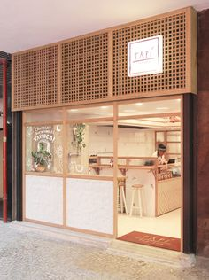 Image 8 of 19 from gallery of Tapí Tapioca / Tavares Duayer Arquitetura. Photograph by Nathalie Ventura Japanese Coffee Shop, Japanese Shop, Japanese House, Cafe Shop Design, Store Design, House Design, Japanese Restaurant Interior, Cafe Interior, Coffee Restaurants