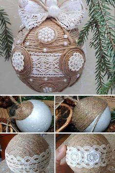 Funny Christmas Decorations, Christmas Ornament Crafts, Xmas Crafts, Handmade Christmas, Christmas Tree Ornaments, Vintage Christmas, Christmas Diy, Homemade Decorations, Burlap Ornaments