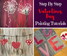 Create your own Valentine's Day painitngs! Learn from home with these free online beginner painting tutorials by Tracie Kiernan . Canvas Painting Tutorials, Easy Canvas Painting, Painting Lessons, Love Painting, Painting For Kids, Art Lessons, Painting Techniques, Heart Painting, Love Canvas