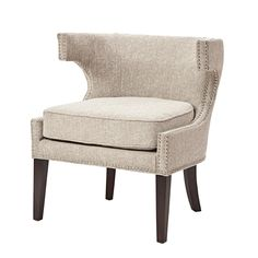 Add this stylish piece to your decorating mix as an updated accent with contemporary cut out arms and double row silver nail head trim. Leg assembly required.