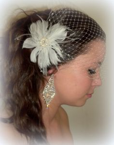 Feather Bridal Fascinator with French Net Bandeau by kathyjohnson3, $58.00
