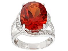 12.70ct Oval Lab Created Padparadscha Sapphire And .14ctw Lab Created