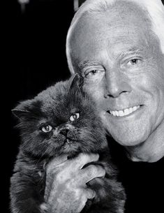 Giorgio Armani and cat
